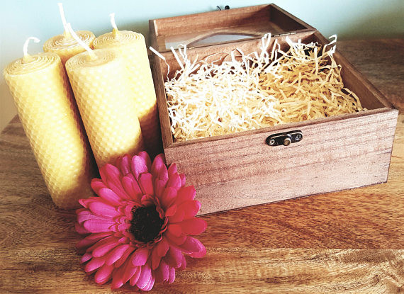 Wooden Gift Box Beeswax Candles