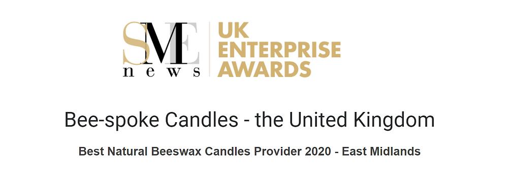 Bee-spoke Candles Awarded SME News Best Natural Candles 2020 - East Midlands