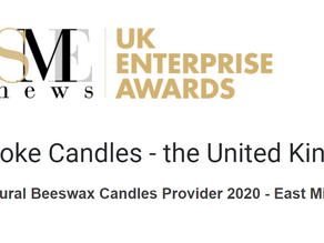 Bee-spoke Candles given SME News UK Enterprise Awards Best Natural Beeswax Candles Provider 2020