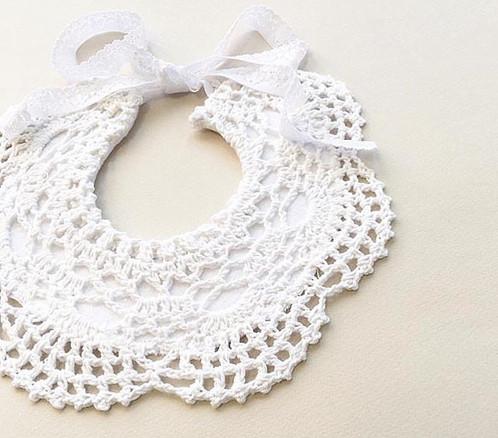 Nine Toes Co Crochet Bib White