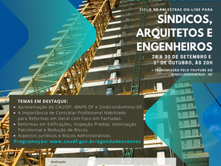 Ciclo de Palestras On-line para Síndicos, Arquitetos e Engenheiros (nova data).