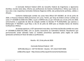 Nota - CONFEA - Comissão eleitoral