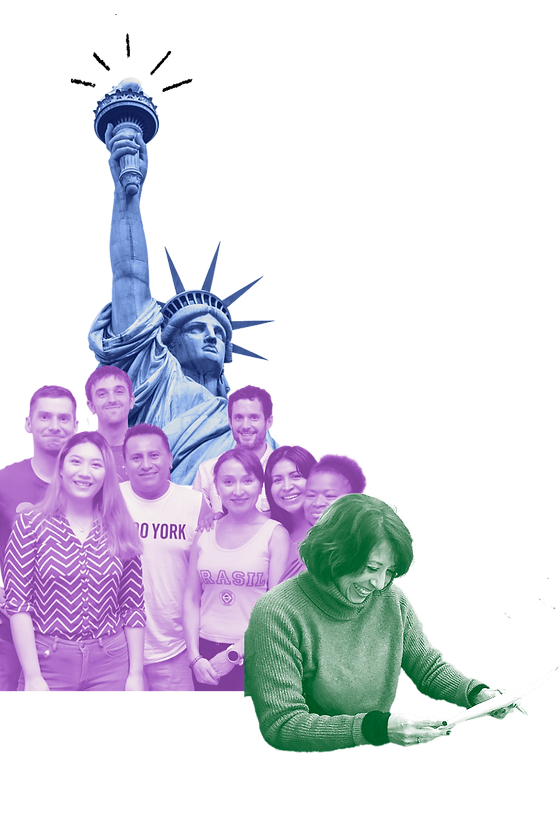 Collage of statue of liberty as well as students and staff of the institute