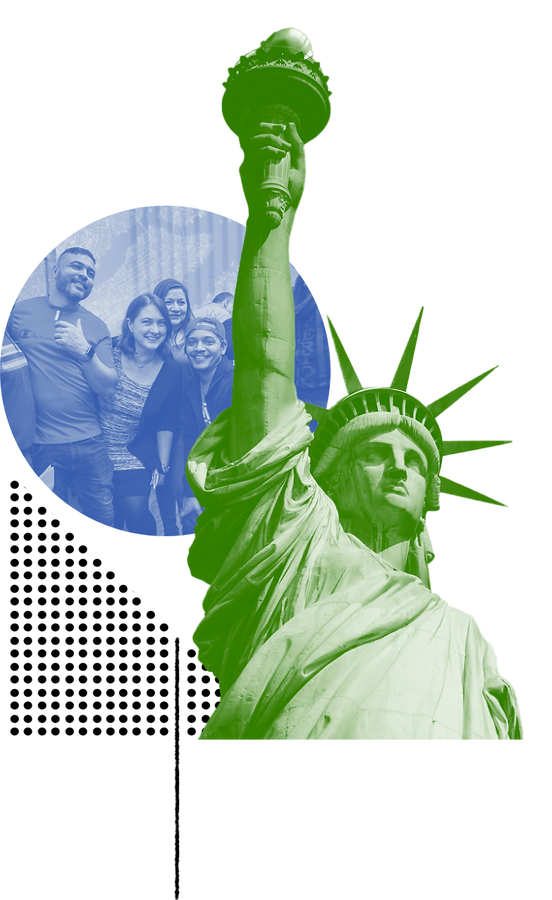 The Statue of Liberty, image of students behind