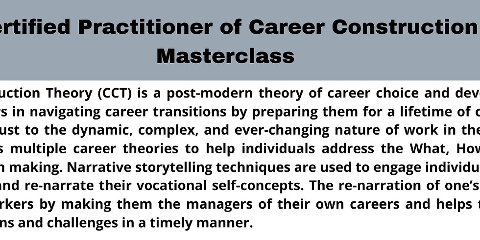 Career Practitioner of Career Construction Masterclass - Group A