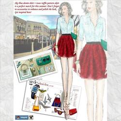 Denim shirt with red ruffle skirt