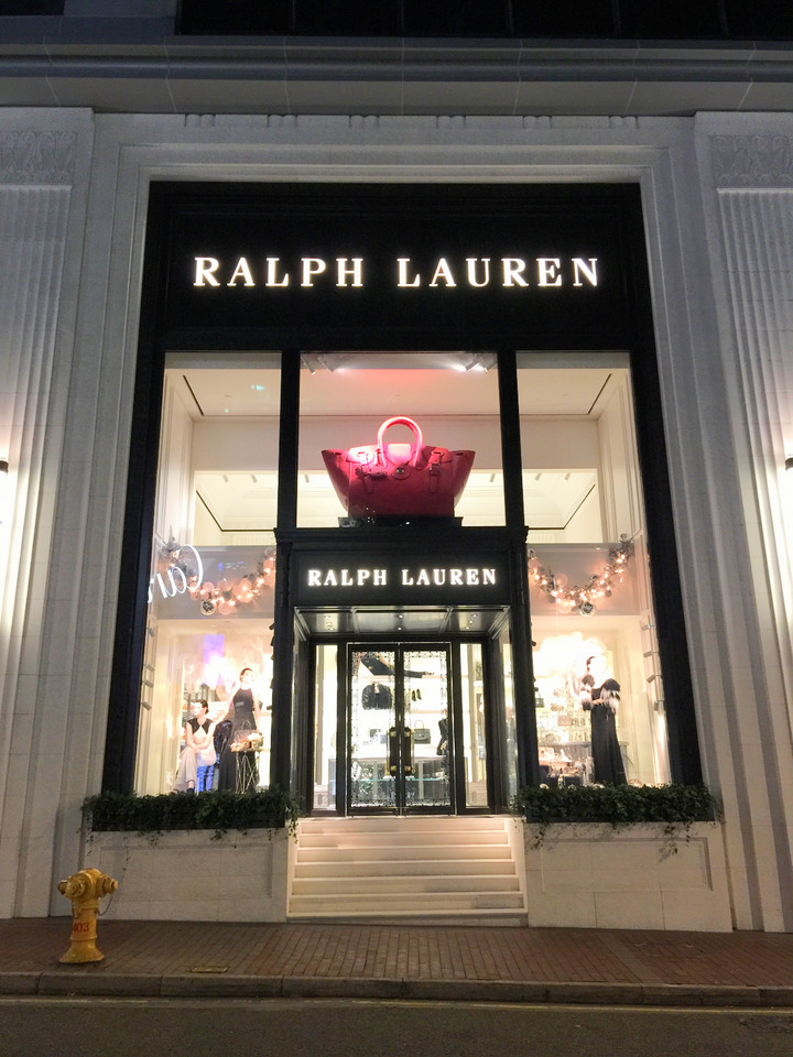 Huuuge Ralph Lauren leather bag display in CWB Hong Kong