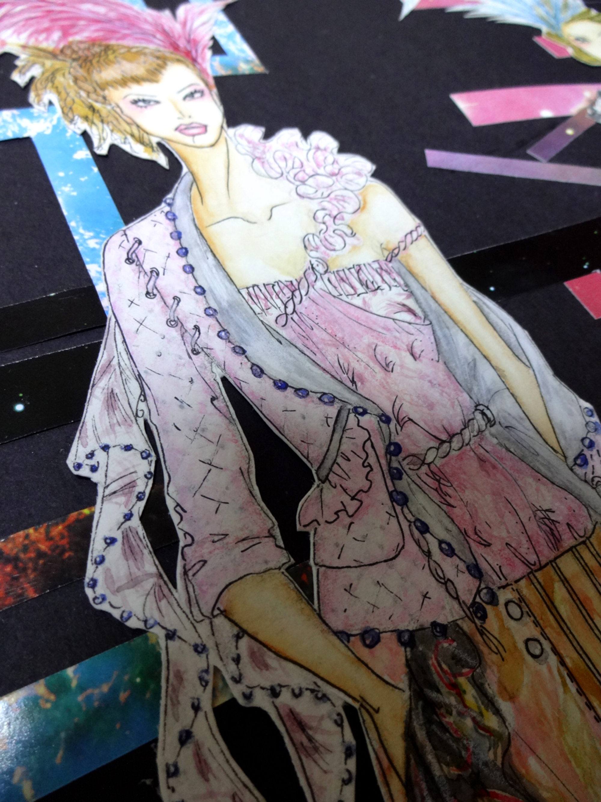 Illustration-done by watercolor. brocade jacket