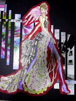 Illustration-done by watercolor. silk pleating, ruffles, cascade details