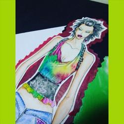 Watercolor technique on illustration _ tie-dye