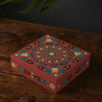 Square Box with Gilded Rosette