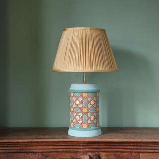 Hand Painted Lamp with Gold Leaf