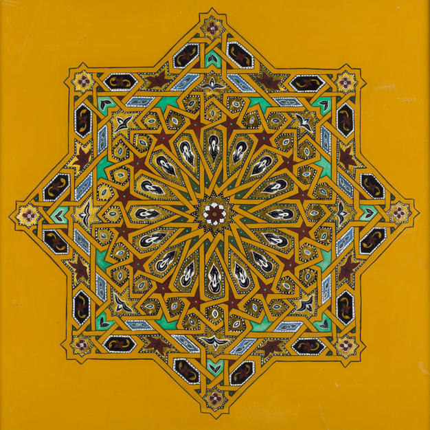 Sixteen-Fold Rosette in Yellow Ochre