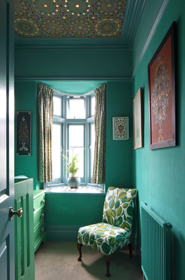 Bedroom with Painted Ceiling