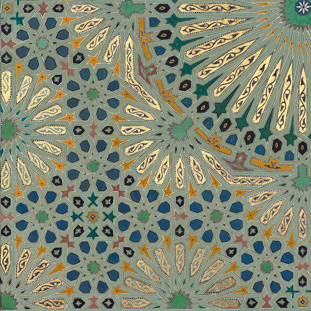 Detail from Thirty-Two Fold Geometry in Blue