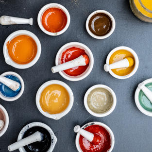 Natural Pigments mixed with Egg Tempera