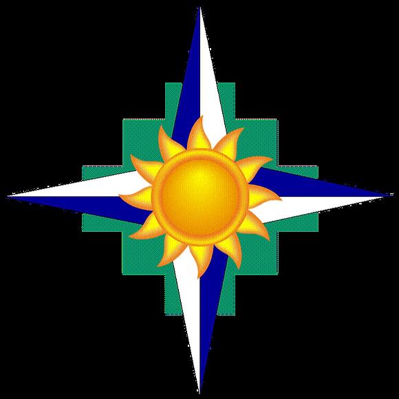 M&B Rossi Consulting LLC Logo, Incan Cross, Sunshine, Compass, Coaching, Leadership, WBE, WOSB