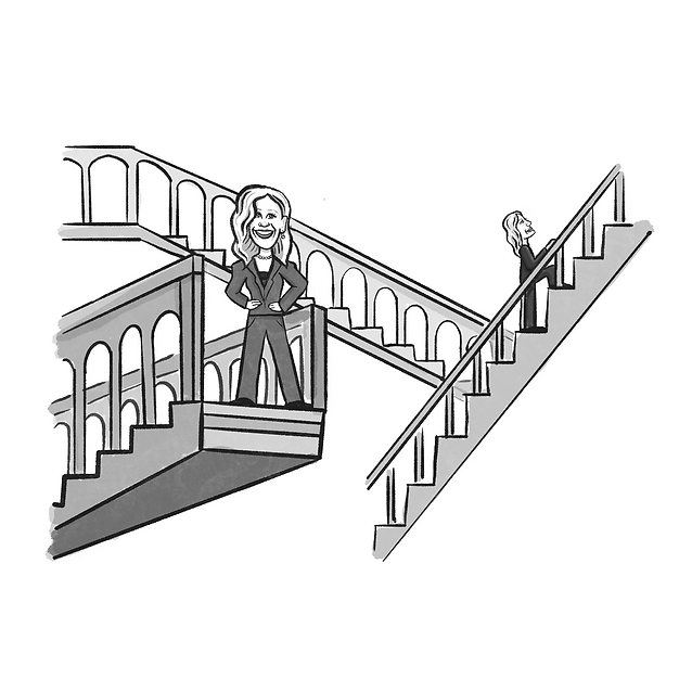 moving stairs, corporate ladder, women, leaders, career, sarah daly