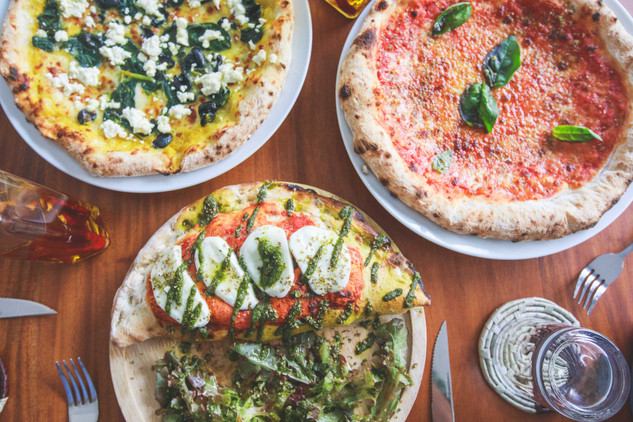 Greta pizza, Marina pizza and Alessandro calzone