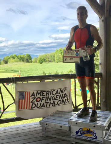 Steve Tomasi racing at the American Zofingen Duathlon. First place in 60-64 age group.