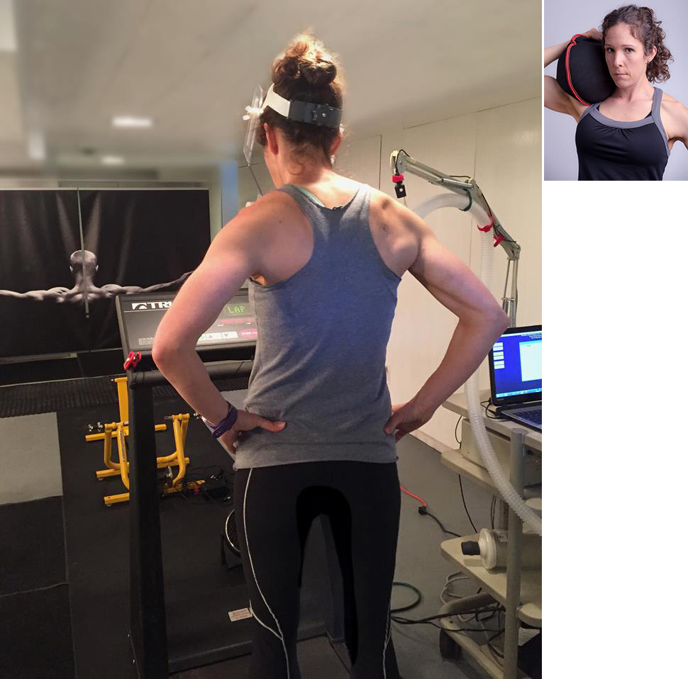 Anne L'Heureux on treadmill preforming Metabolic Efficiency Assessment