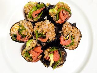 Wheat Berry Salmon Sushi Rolls