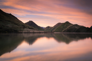 Sunrise at Moke Lake, Queenstown area, Otago, South Island, New Zealand