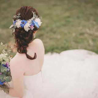 Colorful bouquet Blue headdress