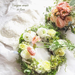 ・_・_Evergreen wreath for your both paren