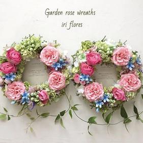 Garden rose wreaths!_・_可愛いペアリースが完成しました。_