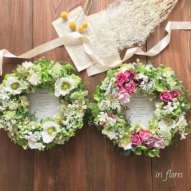 Happy wedding!_・_贈呈用のペアリース です。_グリーン×ピンク、