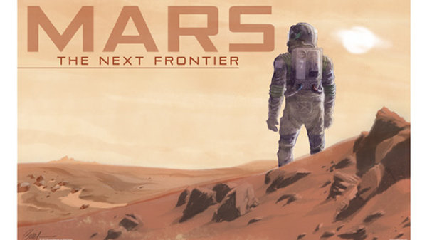 Retro Rocket: Mars Landscape Poster