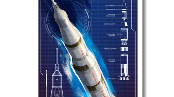 Retro Rocket: Saturn 5 Poster
