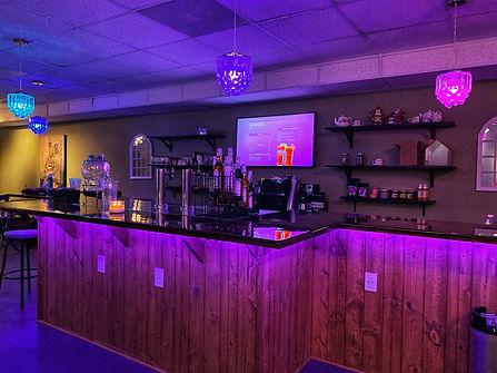 bar area set up with under bar lights