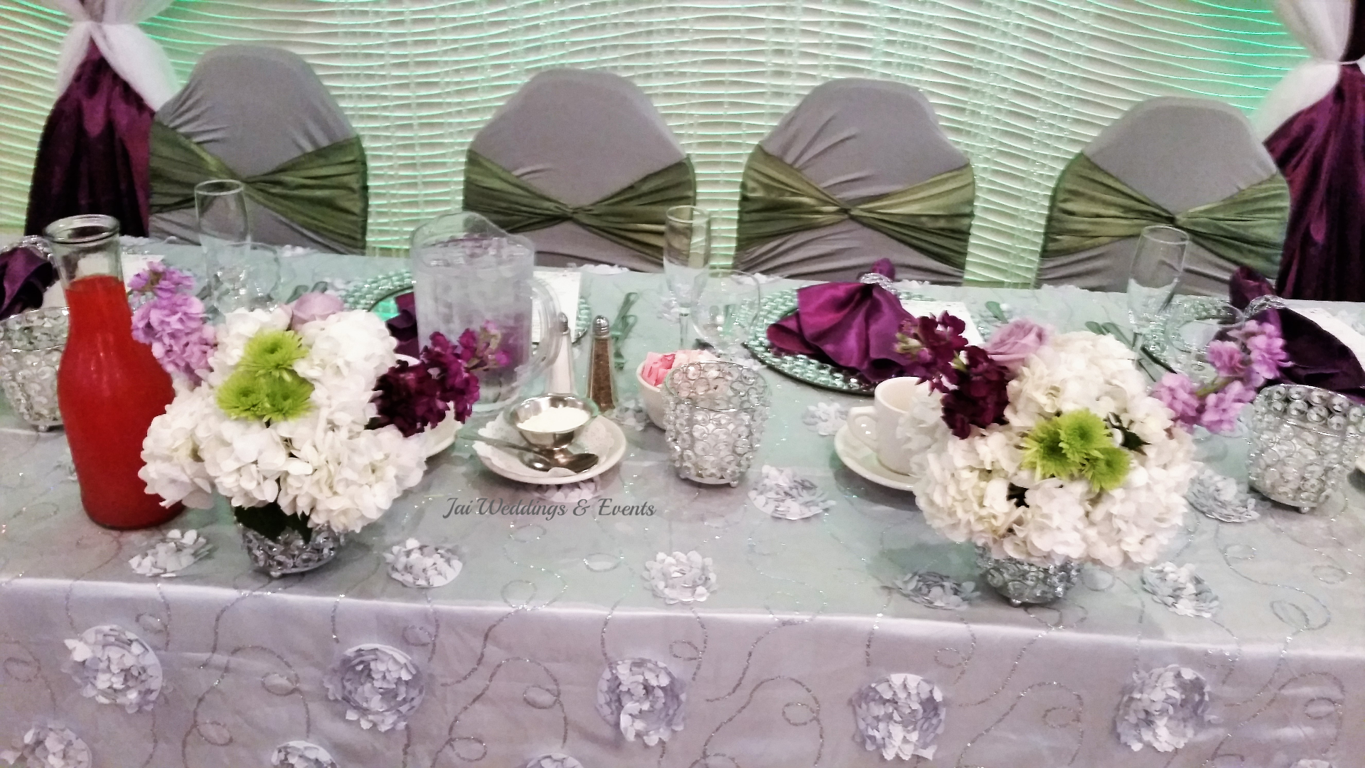 purple and sage wedding table