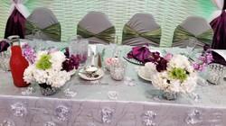 purple and sage wedding table