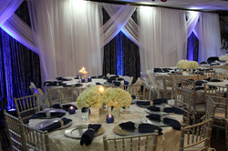Navy, silver white backdrop wedding