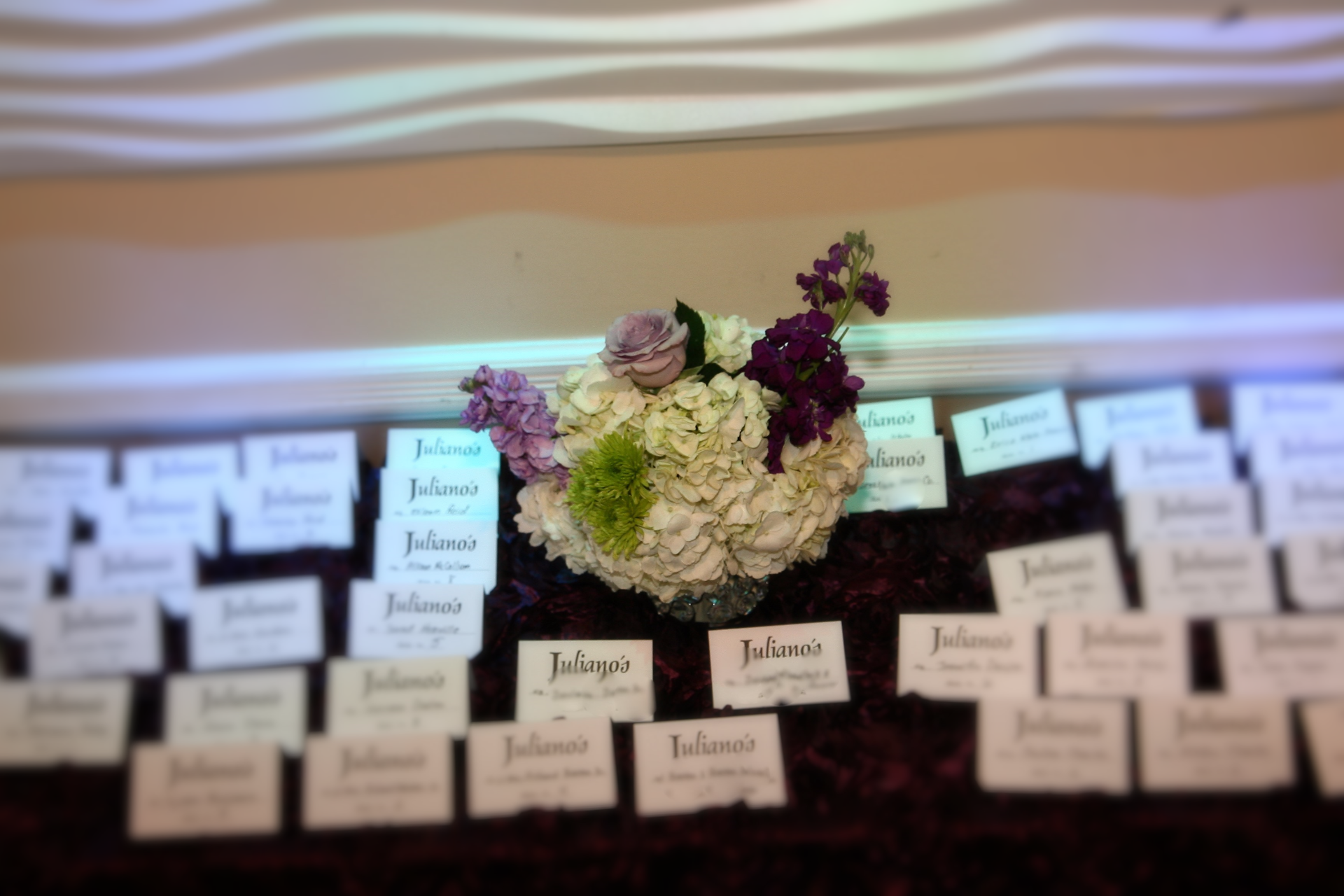 purple and silver wedding card table
