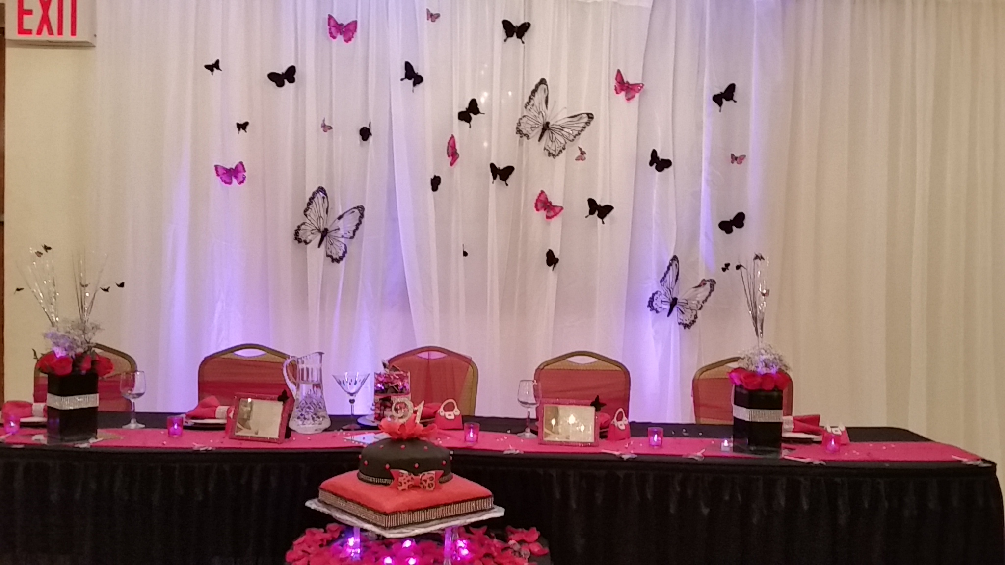 Black Butterfly pink birthday decor