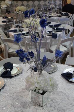 navy silver white wedding decor