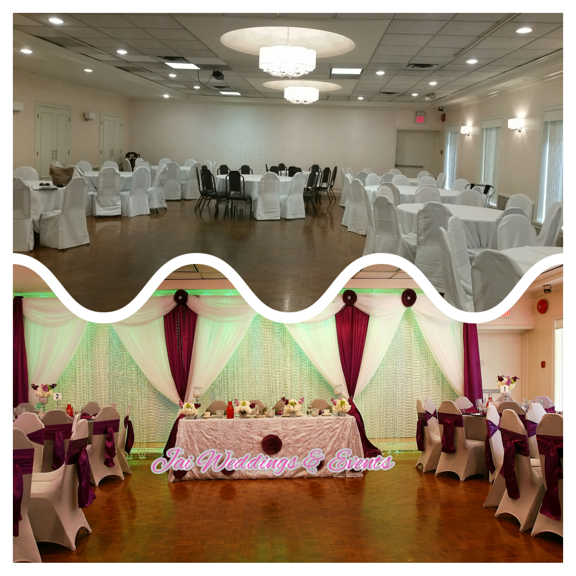 purple and white wedding backdrop