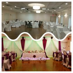 purple and white wedding backdrop