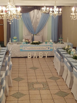 baby blue baby shower backdrop decor