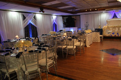 Navy blue silver and white wedding