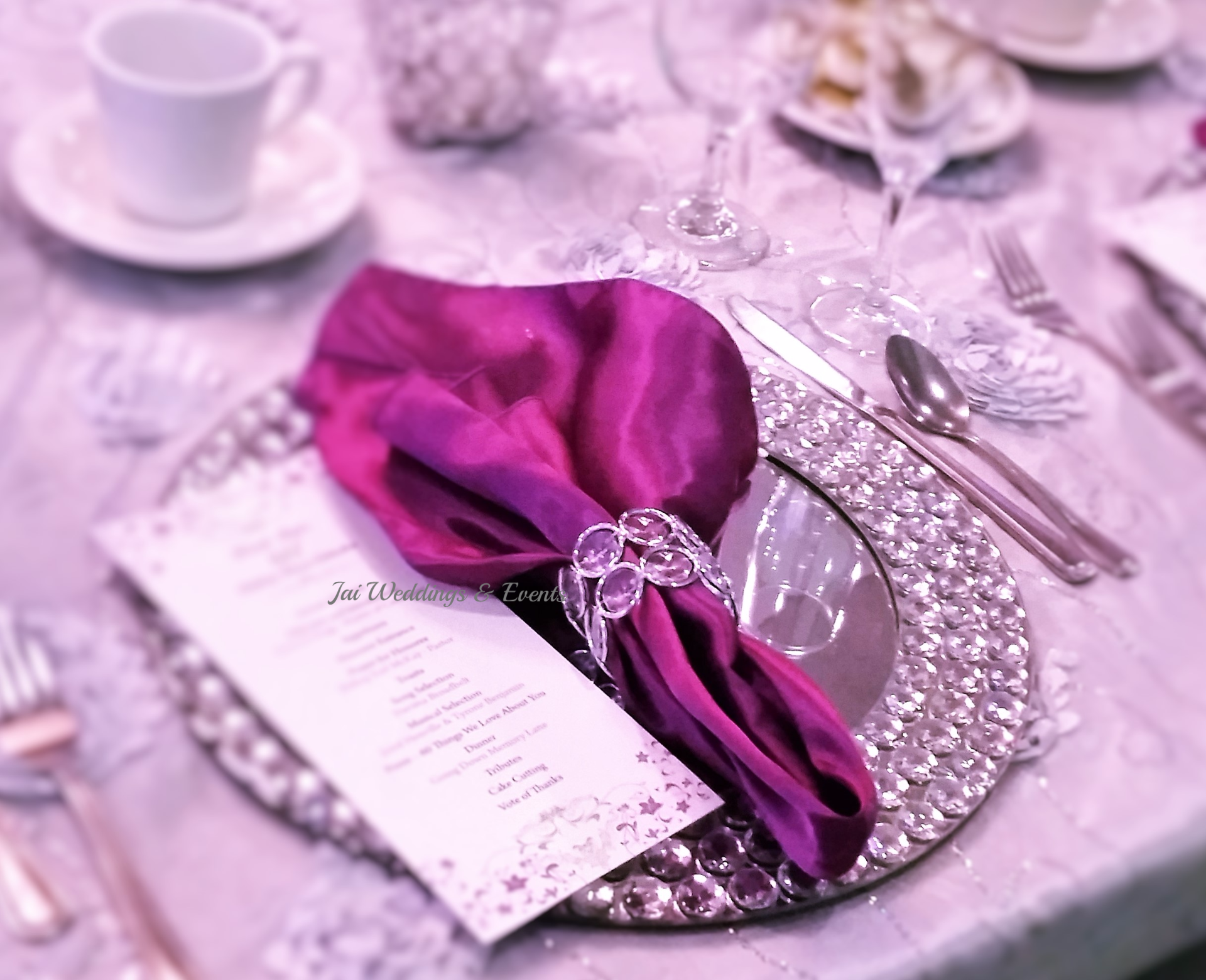 purple silver wedding crystal plate