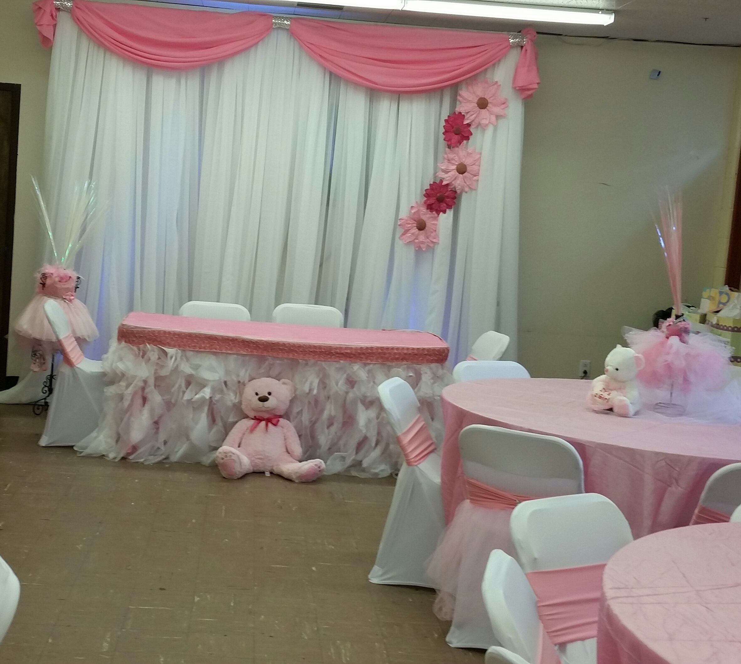 pink ballerina baby shower backdrop