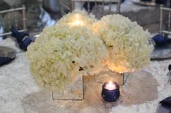 navy silver white wedding centerpiec
