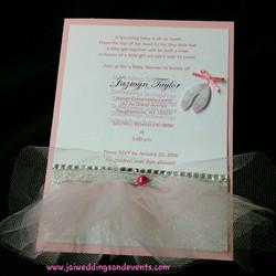 pink ballerina baby shower invite