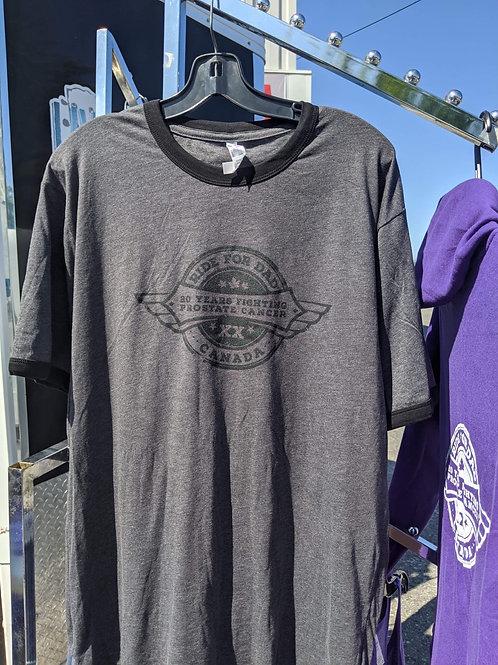 Black unisex 20 year anniversary ringer T shirt