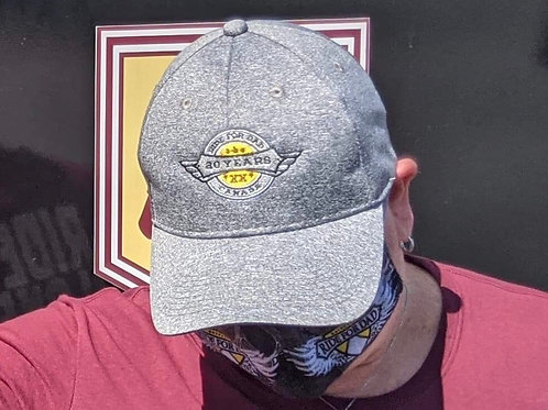 Grey lightweight material 20 year anniversary ball cap